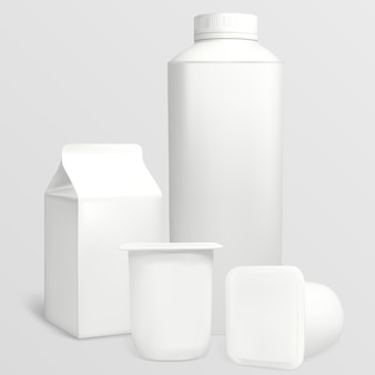 Conjunto de embalagens de iogurte. cada objeto pode ser usado separadamente. a ilustração contém malhas de gradiente.