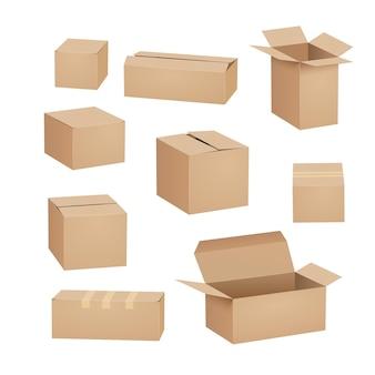 Conjunto de embalagens de papelão de caixa de papelão.