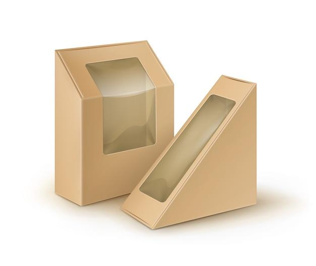 Conjunto de embalagens de papelão marrom