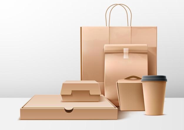 Conjunto de embalagens de papelão realista de vetor hambúrguer de pizza e caixas e pacotes de entrega de fast food