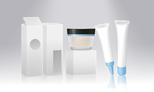 Conjunto de embalagens de produtos cosméticos isolado no fundo branco