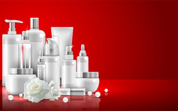 Conjunto de embalagens de produtos de beleza natural para cuidados com a pele