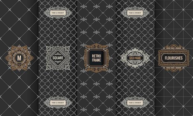 Conjunto de embalagens de quadro de logotipo de etiquetas
