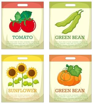 Conjunto de embalagens de sementes diferentes em fundo branco