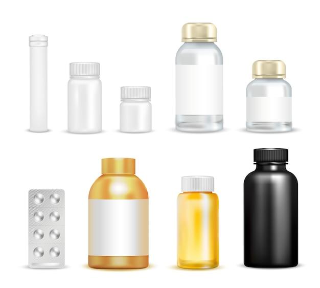 Conjunto de embalagens de vitaminas medicinais
