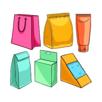 Conjunto de embalagens diferentes. ilustração desenhada à mão