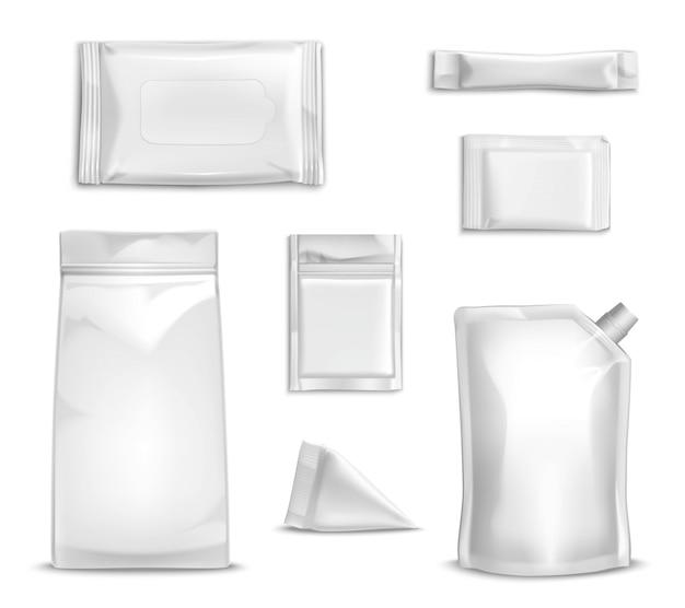 Conjunto de embalagens em branco