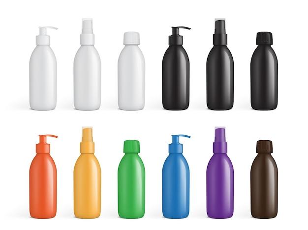 Conjunto de embalagens plásticas coloridas para líquidos