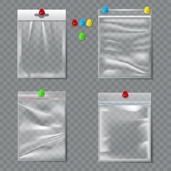 Conjunto de embalagens plásticas transparentes com pinos