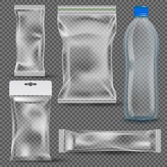 Conjunto de embalagens plásticas vazias transparentes