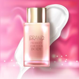 Conjunto de embalagens realistas para ilustração de produtos cosméticos de luxo