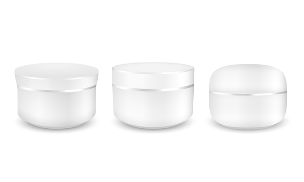 Conjunto de embalagens redondas em branco branco de creme