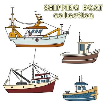 Conjunto de embarcação de pesca no mar
