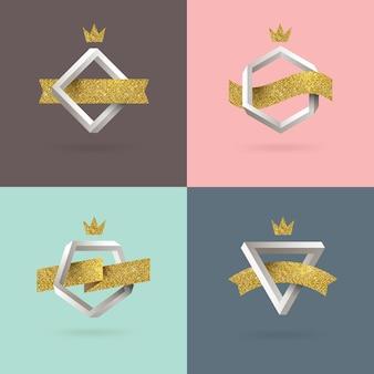 Conjunto de emblema abstrato com forma impossível e fita de ouro glitter.