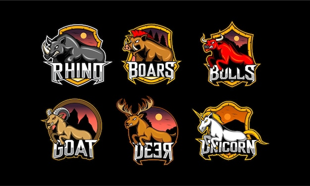 Conjunto de emblema animal. esport logo gaming
