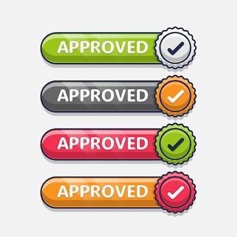 Conjunto de emblema aprovado com etiqueta
