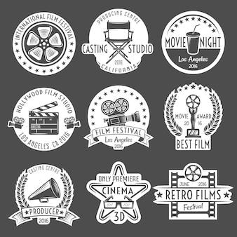 Conjunto de emblema branco de cinema