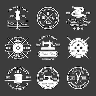 Conjunto de emblema de alfaiate branco