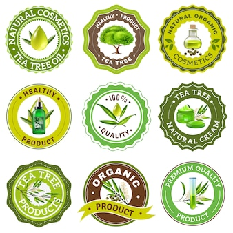 Conjunto de emblema de árvore de chá