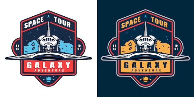 Conjunto de emblema de aventura galáxia