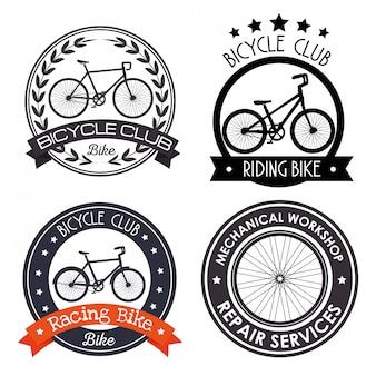 Conjunto de emblema de bicicleta para serviço de reparo