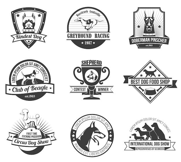 Conjunto de emblema de cães