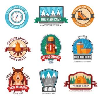 Conjunto de emblema de caminhadas