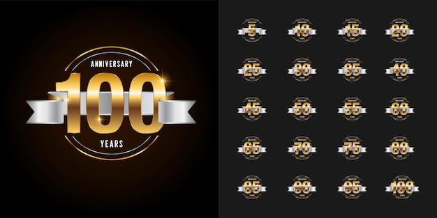 Conjunto de emblema de celebração de aniversário de ouro e prata.