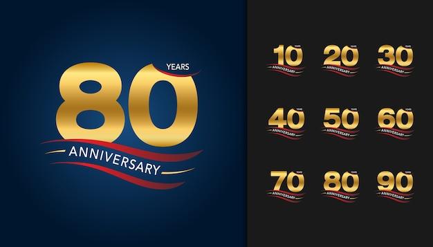 Conjunto de emblema de celebração de aniversário de ouro.