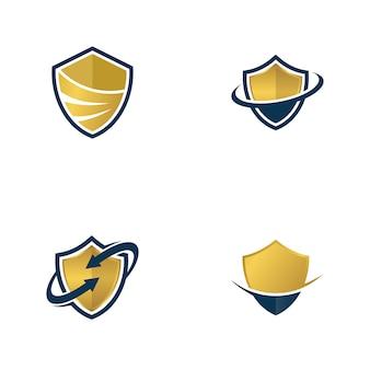 Conjunto de emblema de escudo dourado