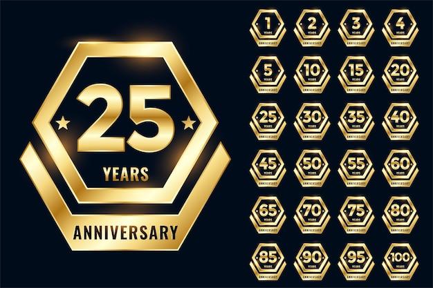 Conjunto de emblema de etiqueta de aniversário dourado