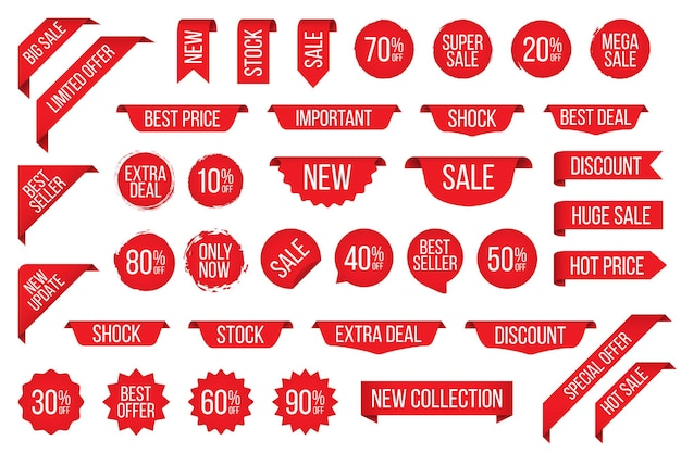 Conjunto de emblema de etiqueta vermelha de venda para promoção