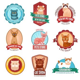 Conjunto de emblema de gatos