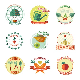 Conjunto de emblema de jardim
