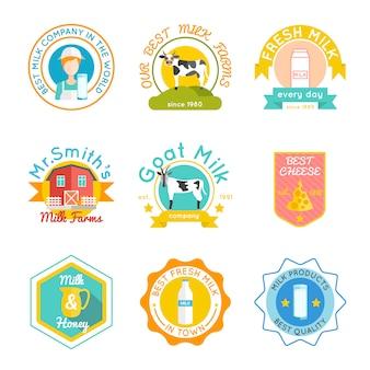 Conjunto de emblema de leite