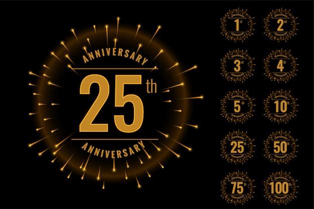 Conjunto de emblema de logotipo de aniversário definido