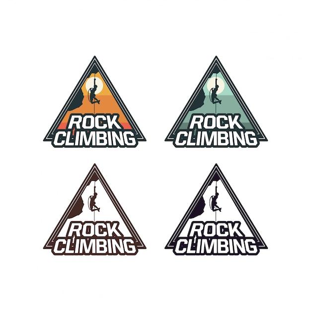 Conjunto de emblema de logotipo de distintivo de escalada em rocha