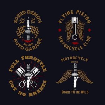Conjunto de emblema de motocicleta vintage rústico e grunge com velas de ignição, pistão, asa e bandeira quadriculada