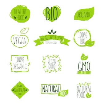 Conjunto de emblema de produto orgânico