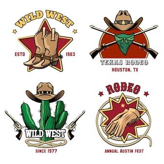 Conjunto de emblema de rodeio de cowboy retrô. chapéu e distintivo americano ocidental.