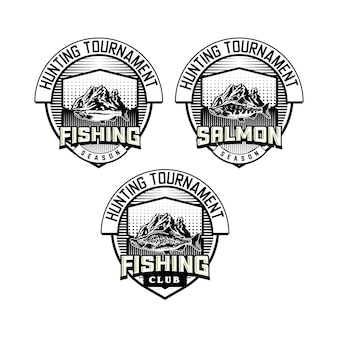 Conjunto de emblema do clube de pesca vintage