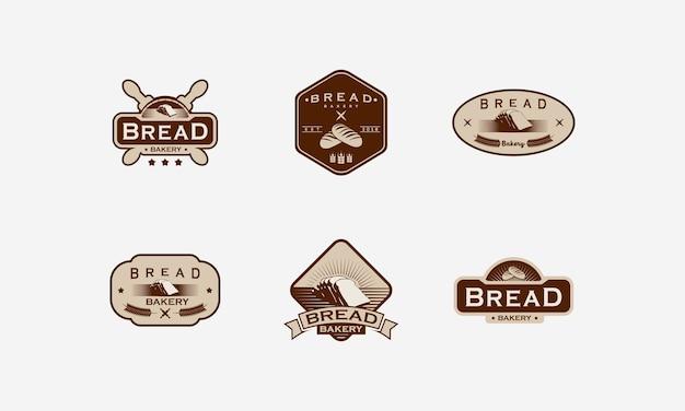 Conjunto de emblema do logotipo da padaria vintage