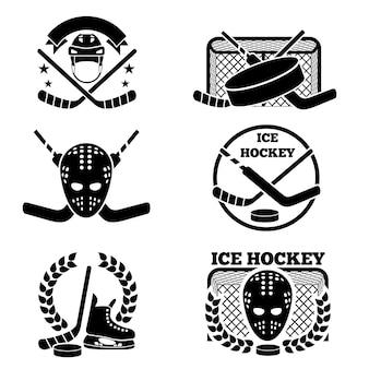 Conjunto de emblema e logotipo de hóquei no gelo.