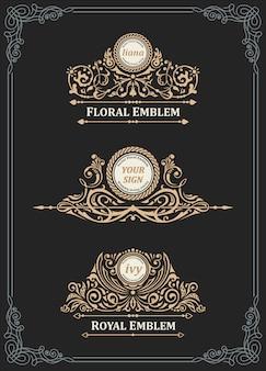 Conjunto de emblema e logotipo ouro vintage