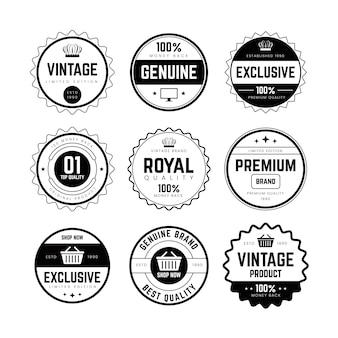 Conjunto de emblema e rótulo retro vintage