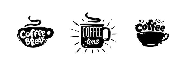 Conjunto de emblema gráfico de citações de café