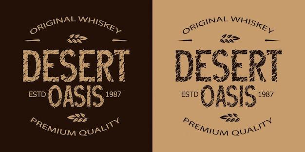 Conjunto de emblema monocromático de uísque vintage