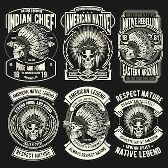 Conjunto de emblema nativo indiano
