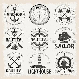 Conjunto de emblema náutico em cores