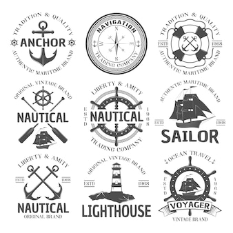 Conjunto de emblema náutico